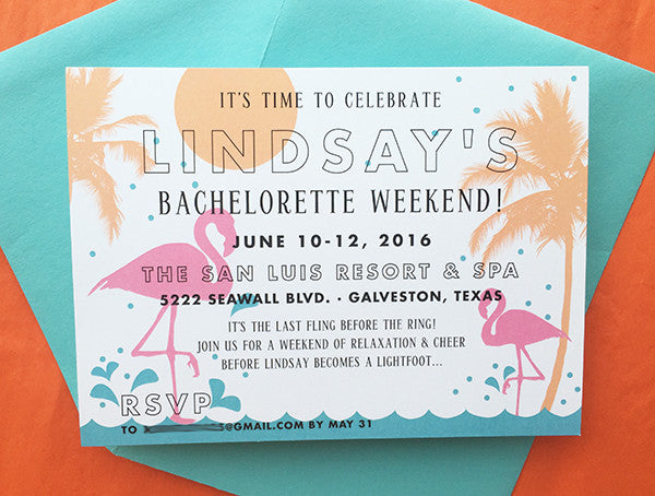 lindsay's flamingo sunset beach bachelorette invites