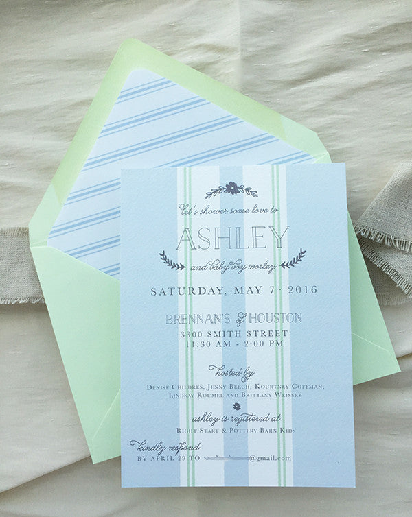 dusty blue & mint french baby shower invitations