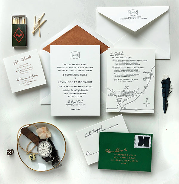 stephanie & kevin's mod green and copper invitations