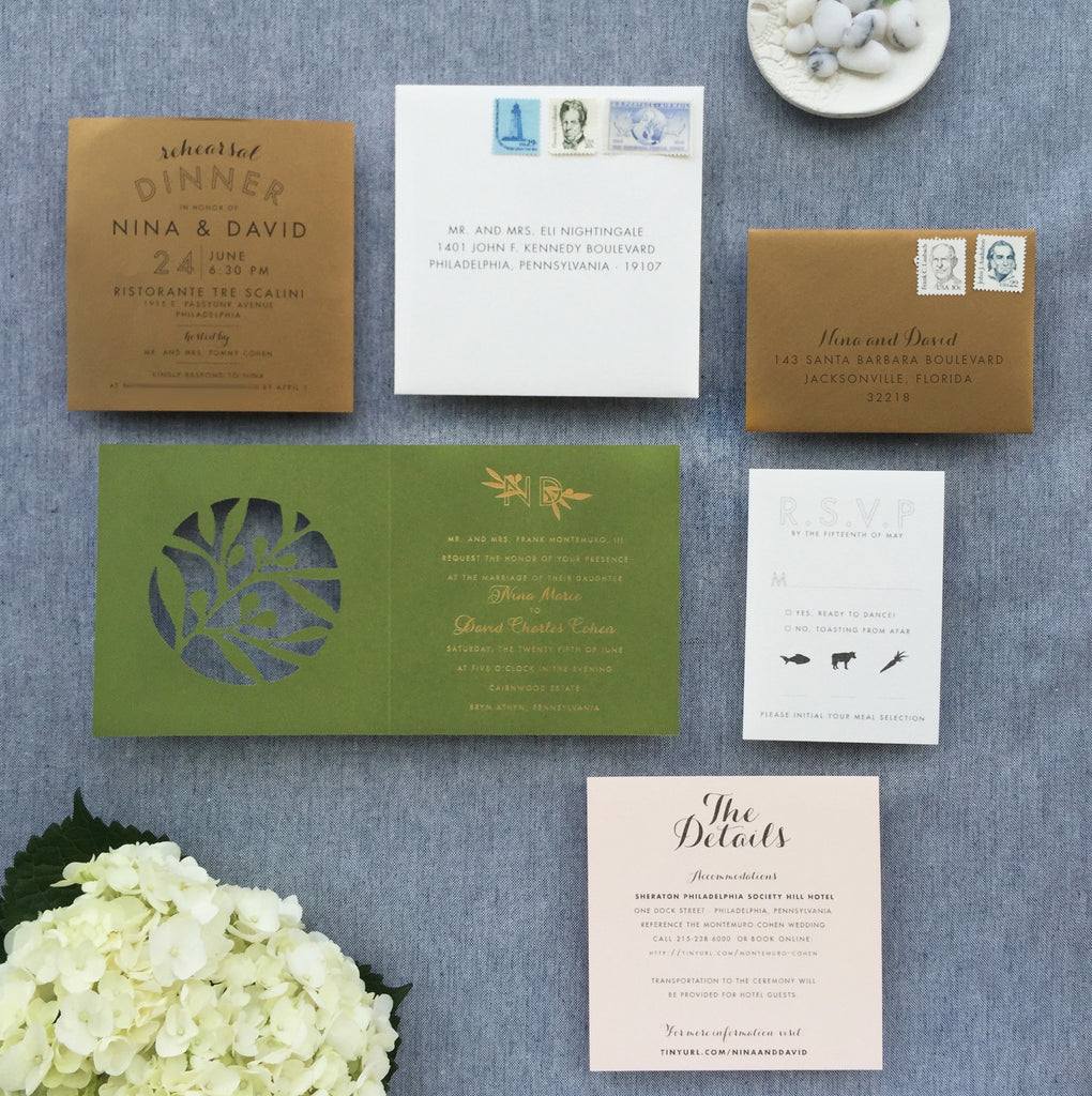 nina & david's olive, gold, cream & blush summer wedding invitations