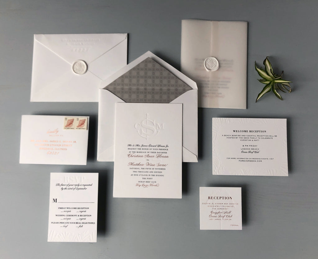 christina & matthew's luxury key largo wedding invitations