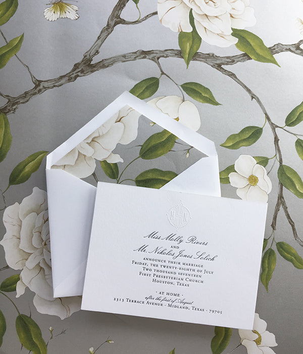 molly + nik's letterpress marriage announcements