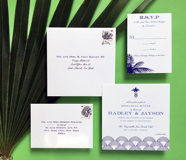 hadley + jayson's formal and festive rehearsal dinner invitations