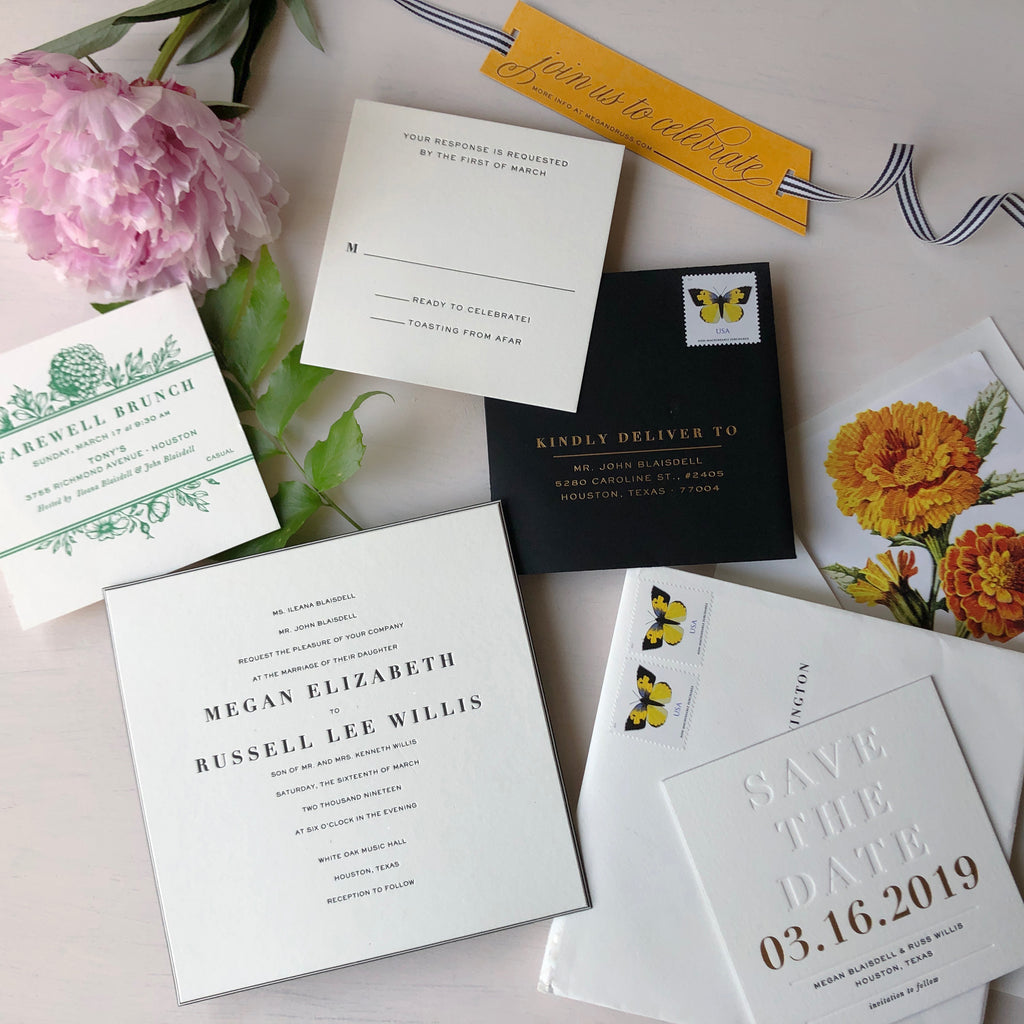 megan & russ's veuve clicquot-inspired wedding invitations