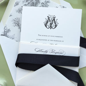 Black, Ivory & Toile Spring Wedding Invitations
