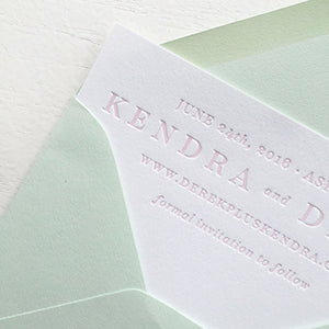 Blush and Blind Letterpress Save the Date | Aspen, Colorado Wedding