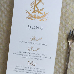 Gold Foil Wedding Menu