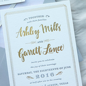 Gold Foil Gray Letterpress Austin Wedding Invitation