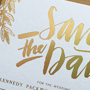 Gold Foil Hand-Lettered Save the Date