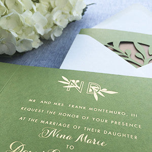 Gold Foil & Olive Farm Wedding Invitation Formal Rustic
