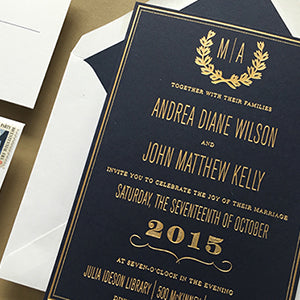 Gold Foil on Navy Paper