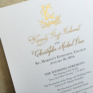 Double-Sided Gold Foil Wedding Program