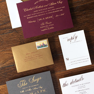 Wine, Gold & Gray Wedding Invitation | Charm & Fig