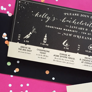 Kelly's Black and Gold New Orleans Bachelorette Itinerary Invitiation