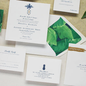 Banana Leaf Wedding Letterpress Tropical Florida Gold Foil