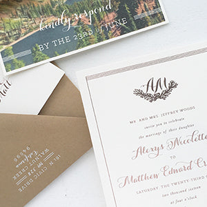 Romantic Rose Gold Lake Tahoe Wedding Invitation
