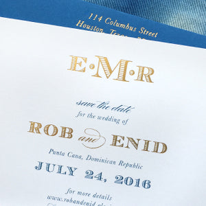 Punta Cana Save the Date | Gold Foil and Ocean Blue