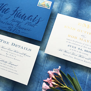 Ocean Blue & Gold Foil Preppy Beach Wedding Invitation