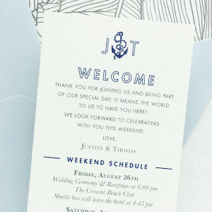Wedding Welcome Itinerary Nautical Beach Wedding