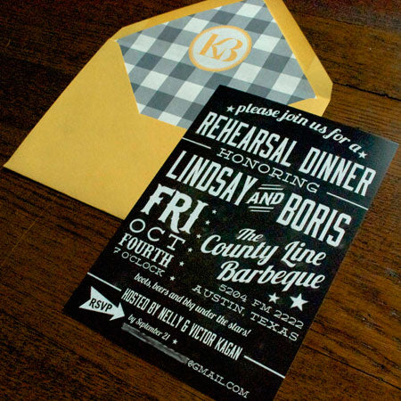 Austin Texas BBQ Rehearsal Dinner Invitations