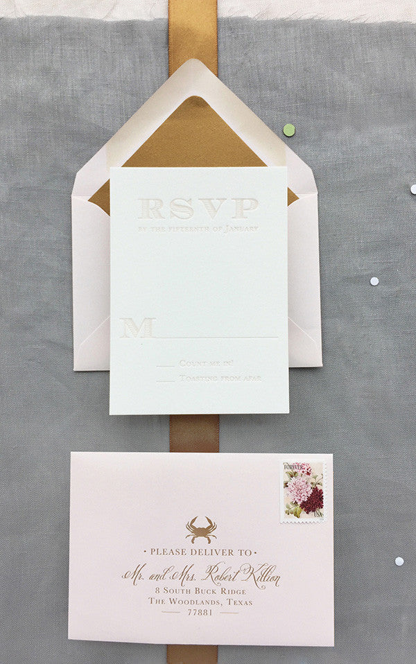 Blush Letterpress RSVP Card Gold Foil Crab RSVP Envelope