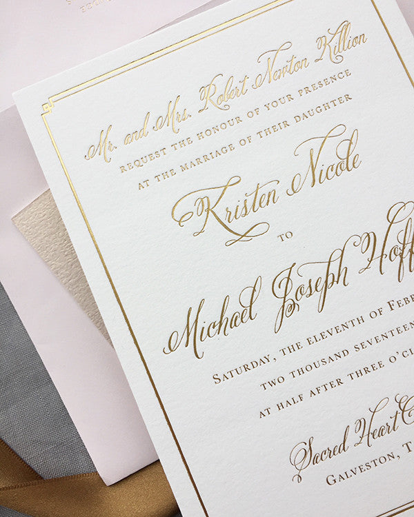 Gold and Blush Luxury Wedding Invitation