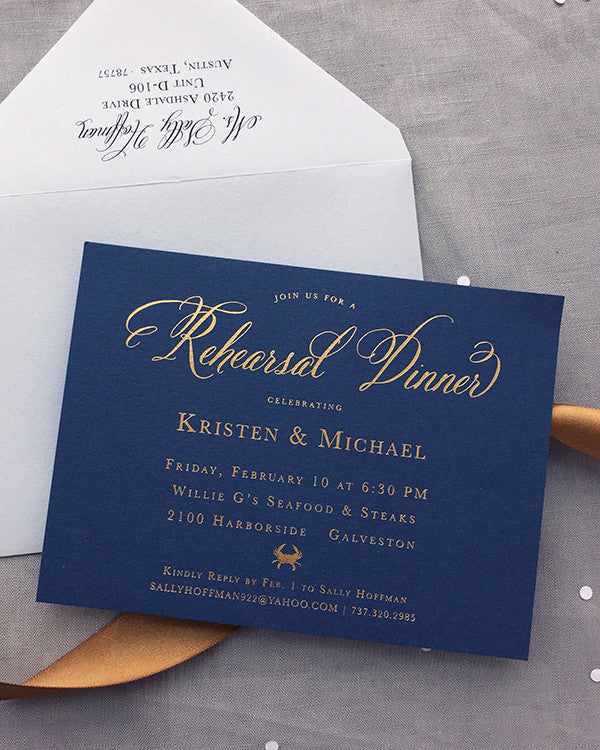 Gold Foil Navy Rehearsal Dinner Invitation Nautical Beach Wedding Destination