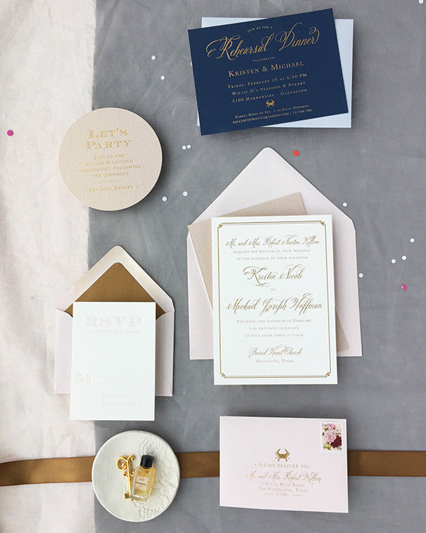 kristen michaels gold rose gold blush wedding invitations