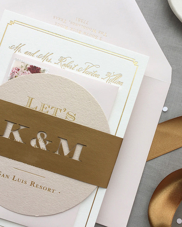 Laser-Cut Belly Band Blush and Rose Gold Foil Wedding invitation