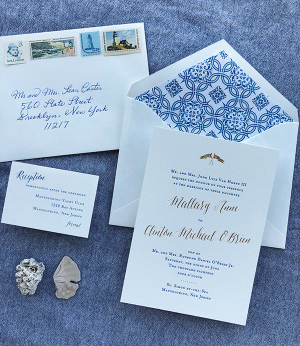 Blue and Gold Letterpress Wedding Invitations East Coast Beach Pattern Envelope Liner Vintage Stamps
