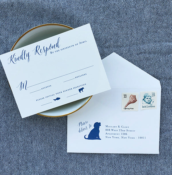 East Coast Beach Wedding Invites RSVP CARD with Dog Cute