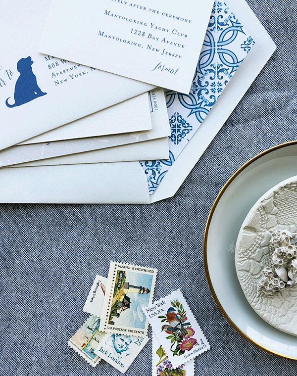 Blue and Gold Letterpress Wedding Invitations East Coast Beach Vintage Stamps Liner