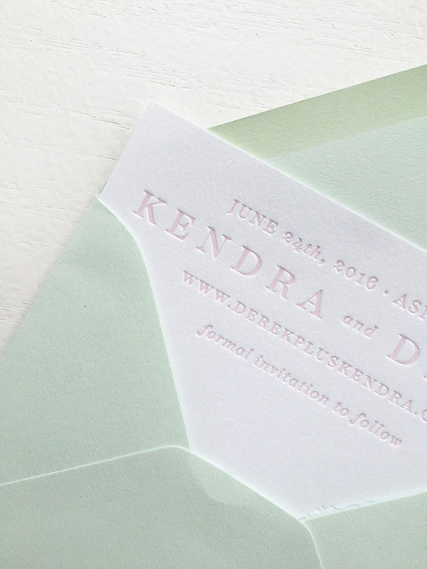 Blush and Blind Letterpress Aspen Colorado Wedding Save the Date Maroon Bells