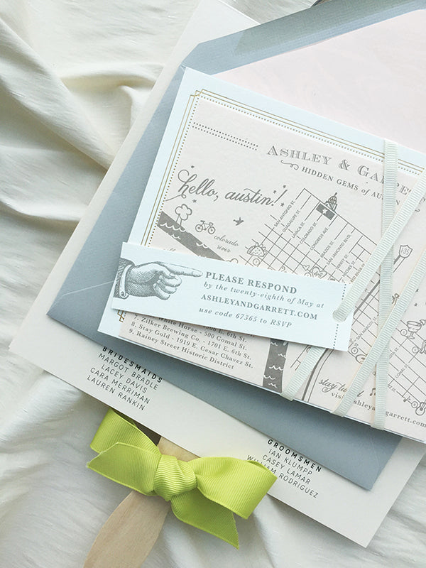 Austin Texas Wedding Invitation and Program, Blush Chartreuse