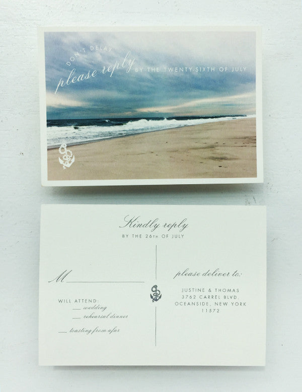 Nautical Beach Post Card Long Island Hamptons RSVP Response