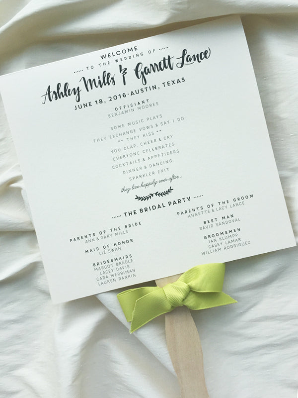 Cute Fan Wedding Program Blush and Chartreuse