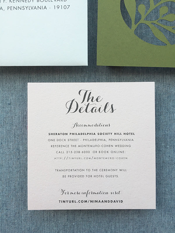 blush wedding information card