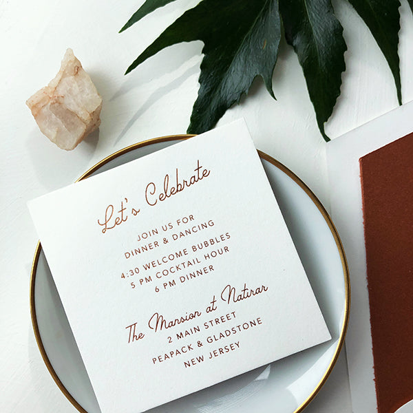 Copper Foil Letterpress Luxury Wedding Modern Reception Card Celebrate