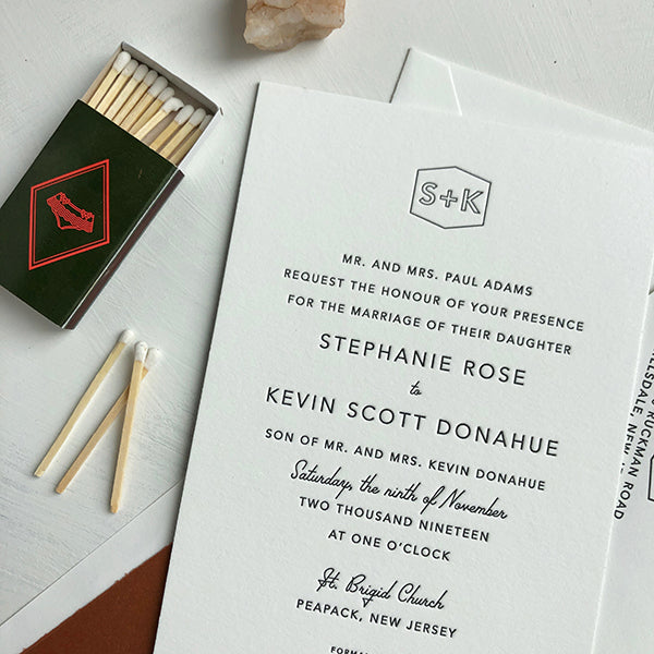 BlackWhite Letterpress Wedding Invitation Modern Monogram