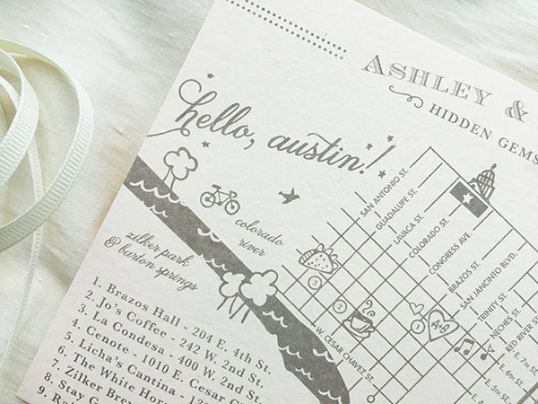 Austin, Texas Custom Wedding Map in Gray on Blush Paper