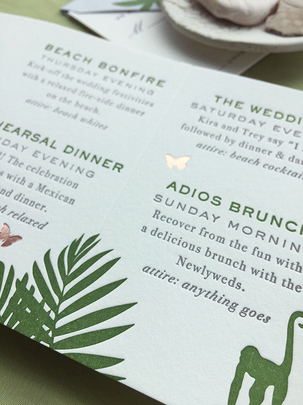 Wedding Week Itinerary Letterpress Tropical Rose Gold