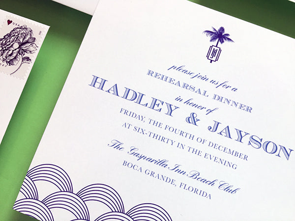 rehearsal dinner invitation boca grande florida square wedding preppy palm