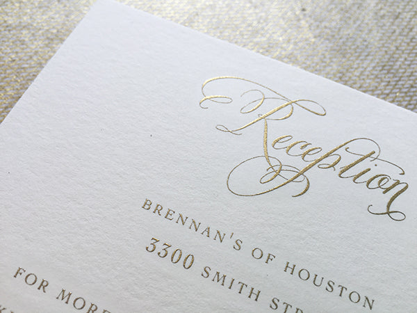 formal reception card engraved gold wedding invitation calligraphy