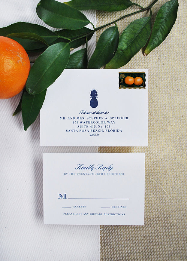 pineapple latterpress response card formal rsvp tropical