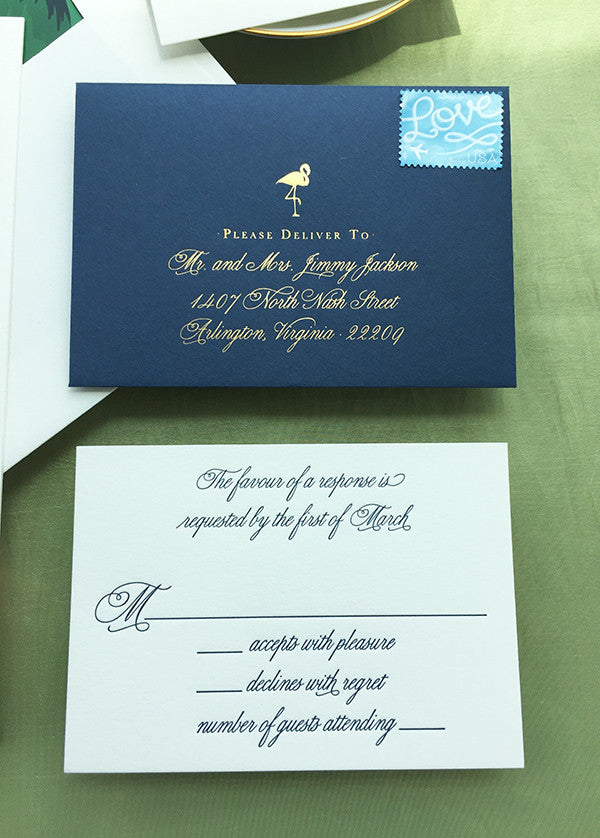 West Palm Beach Formal Wedding Invitation Foil Navy Letterpress Flamingo