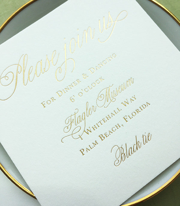 Gold Foil Formal Wedding Reception Card Letterpress