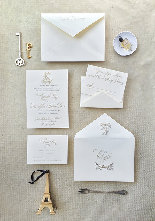 gold engraved wedding invitation suite  monogram classic calligraphy