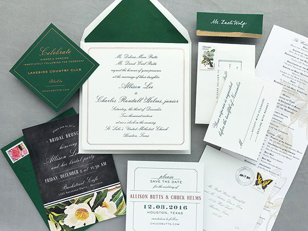 Winter Wedding Letterpress Green and Copper Foil
