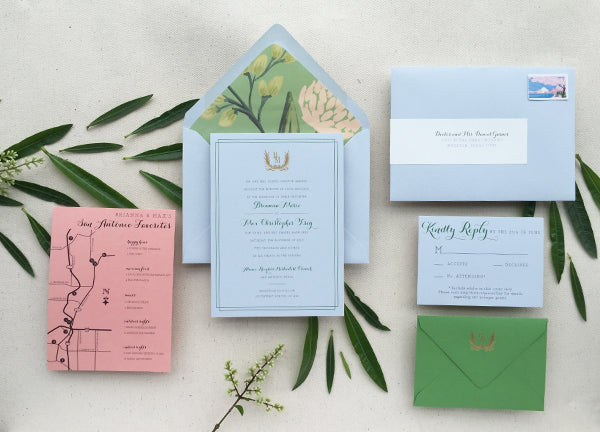 brianna and maxs san antonio summer wedding invitations started with a dusty blue paper rifle paper cos emerald peony patter for envelope liners - Wedding Invitations San Antonio