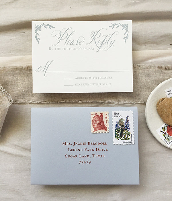 copper foil stamp wedding invitation rsvp response card calligraphy rustic